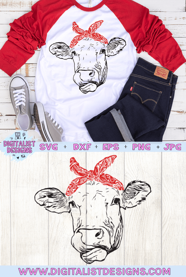 Bandanna Cow SVG file! This would be amazing for a variety of DIY Animal craft projects such as: HTV T-shirts, mugs, home decor, scrapbooking, stickers, planners, and more! Cricut Design Space and Silhouette Studio compatible. Free vector clip art printable.