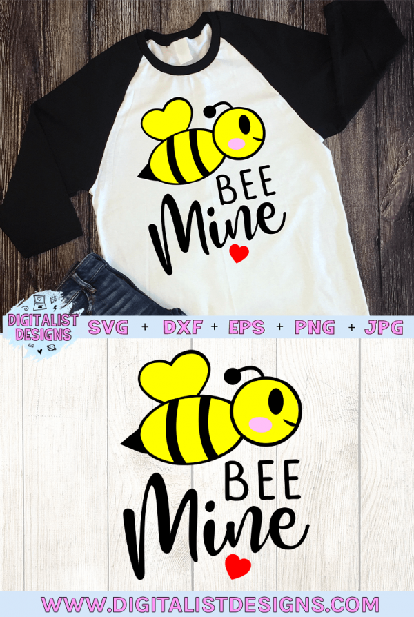 Bee Mine SVG file! This would be amazing for a variety of DIY Valentine's Day craft projects such as: HTV T-shirts, mugs, home decor, scrapbooking, stickers, planners, and more! Cricut Design Space and Silhouette Studio compatible. Free vector clip art printable.
