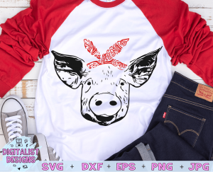 Bandanna Pig SVG file! This would be amazing for a variety of DIY Animal craft projects such as: HTV T-shirts, mugs, home decor, scrapbooking, stickers, planners, and more! Cricut Design Space and Silhouette Studio compatible. Free vector clip art printable.