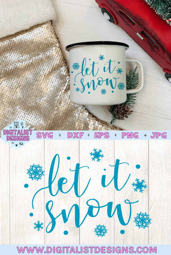 Let it snow SVG file! This would be amazing for a variety of DIY Christmas craft projects such as: HTV T-shirts, mugs, home decor, scrapbooking, stickers, planners, and more! Cricut Design Space and Silhouette Studio compatible. Free vector clip art printable.