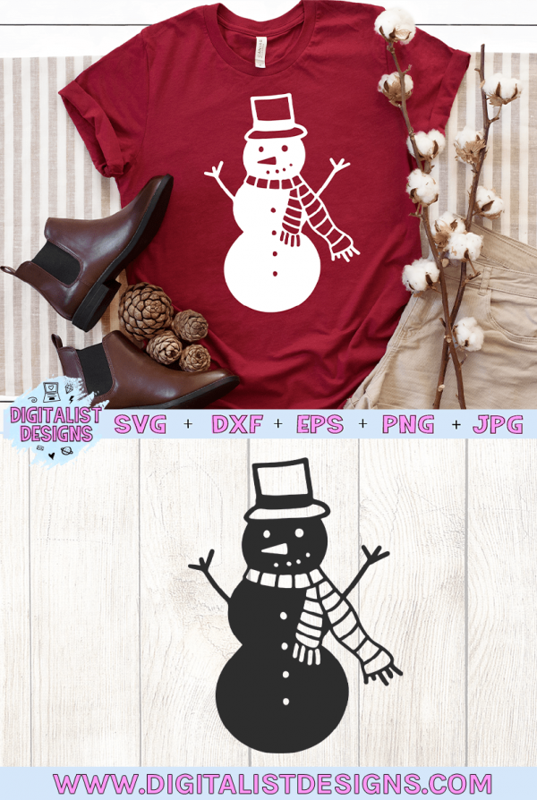 Snowman SVG file! This would be amazing for a variety of DIY Christmas craft projects such as: HTV T-shirts, mugs, home decor, scrapbooking, stickers, planners, and more! Cricut Design Space and Silhouette Studio compatible. Free vector clip art printable.