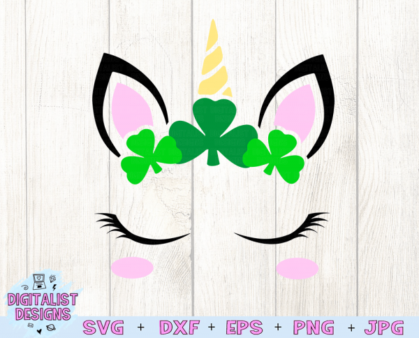 Shamrock Unicorn SVG file! This would be amazing for a variety of DIY St. Patrick's Day craft projects such as: HTV T-shirts, mugs, home decor, scrapbooking, stickers, planners, and more! Cricut Design Space and Silhouette Studio compatible. Vector clip art printable.