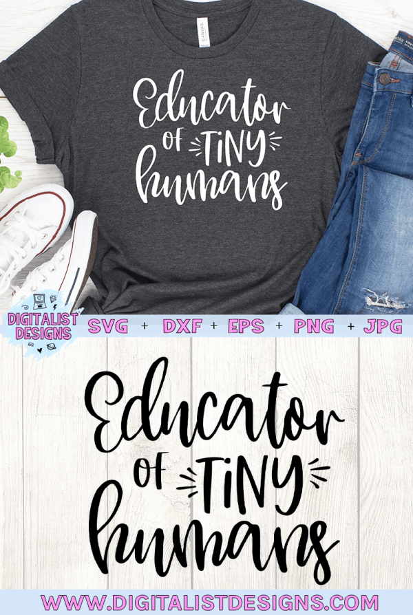 Educator of Tiny Humans SVG cut file! This would be amazing for a variety of DIY Summer craft projects such as: HTV T-shirts, mugs, home decor, scrapbooking, stickers, planners, and more! Cricut Design Space and Silhouette Studio compatible. Vector clip art printable.