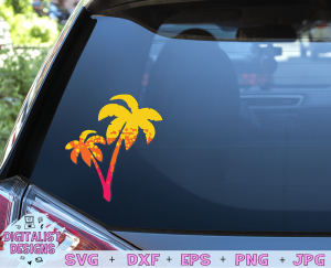 Ombre Palm Trees SVG cut file! This would be amazing for a variety of DIY Summer craft projects such as: HTV T-shirts, mugs, home decor, scrapbooking, stickers, planners, and more! Cricut Design Space and Silhouette Studio compatible. Vector clip art printable.