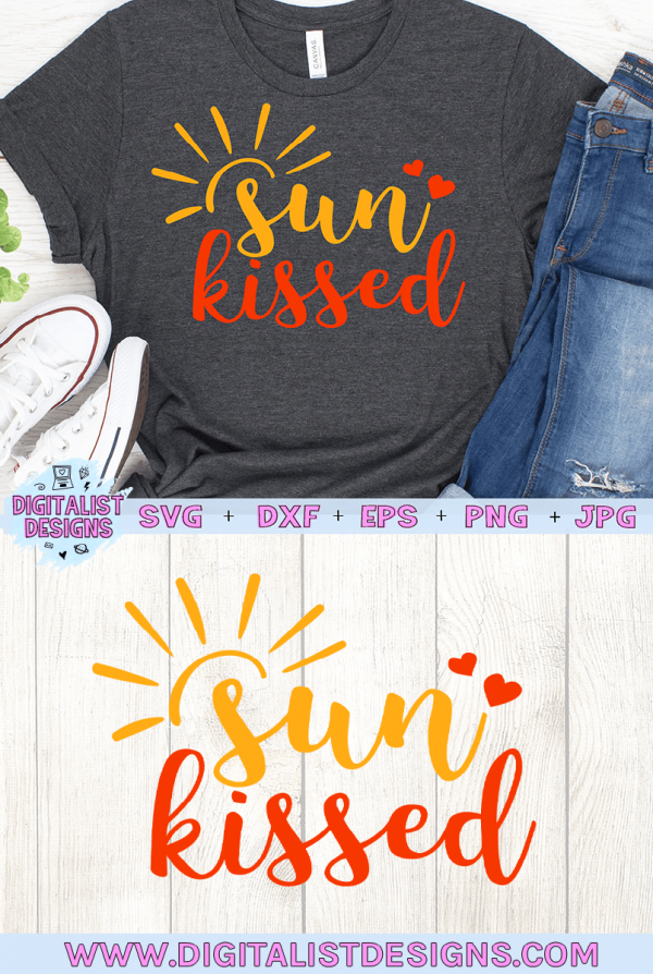 Sun Kissed SVG cut file! This would be amazing for a variety of DIY Summer craft projects such as: HTV T-shirts, mugs, home decor, scrapbooking, stickers, planners, and more! Cricut Design Space and Silhouette Studio compatible. Vector clip art printable.