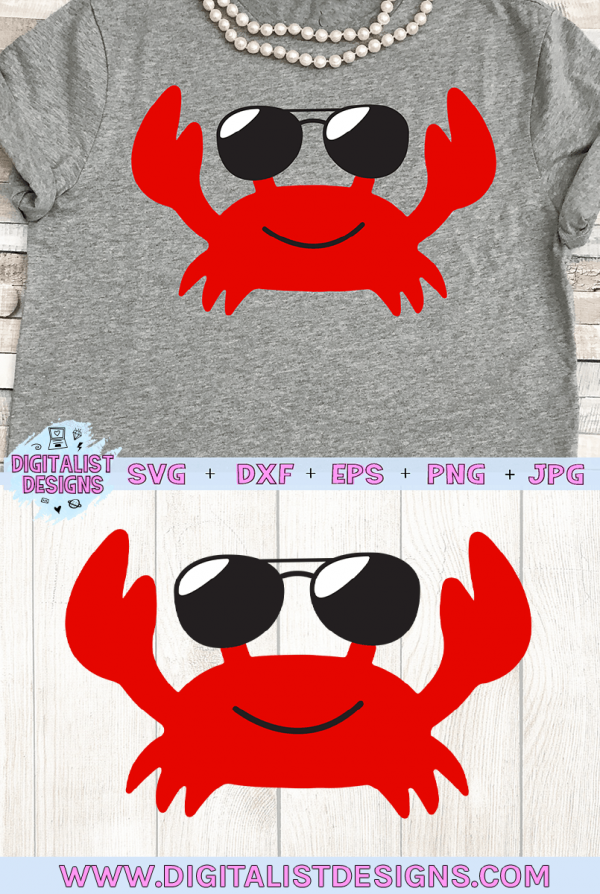 Sunglasses Crab SVG cut file! This would be amazing for a variety of DIY Summer craft projects such as: HTV T-shirts, mugs, home decor, scrapbooking, stickers, planners, and more! Cricut Design Space and Silhouette Studio compatible. Vector clip art printable.