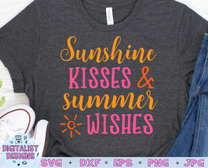 Sunshine Kisses and Summer Wishes SVG cut file! This would be amazing for a variety of DIY Summer craft projects such as: HTV T-shirts, mugs, home decor, scrapbooking, stickers, planners, and more! Cricut Design Space and Silhouette Studio compatible. Vector clip art printable.