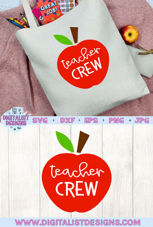 Teacher Crew Apple SVG cut file! This would be amazing for a variety of DIY Teacher craft projects such as: HTV T-shirts, mugs, home decor, scrapbooking, stickers, planners, and more! Cricut Design Space and Silhouette Studio compatible. Vector clip art printable.