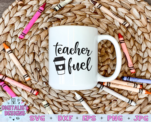 Teacher Fuel SVG cut file! This would be amazing for a variety of DIY Teacher craft projects such as: HTV T-shirts, mugs, home decor, scrapbooking, stickers, planners, and more! Cricut Design Space and Silhouette Studio compatible. Vector clip art printable.