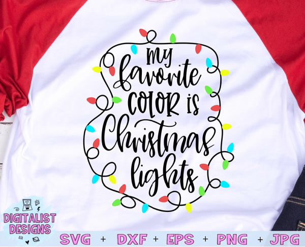 My Favorite Color is Christmas Lights SVG cut file! This would be amazing for a variety of DIY Christmas craft projects such as: HTV T-shirts, mugs, home decor, scrapbooking, stickers, planners, and more! Cricut Design Space and Silhouette Studio compatible. Vector clip art printable.
