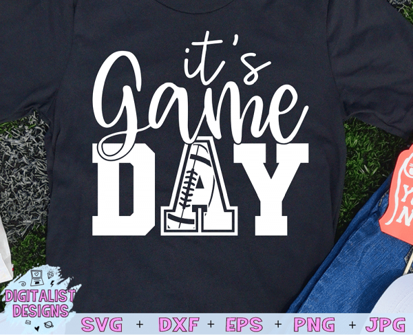 It's Game Day Football SVG cut file! This would be amazing for a variety of DIY Football craft projects such as: HTV T-shirts, mugs, home decor, scrapbooking, stickers, planners, and more! Cricut Design Space and Silhouette Studio compatible. Vector clip art printable.