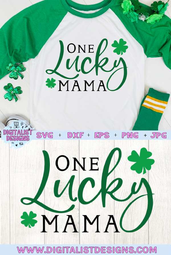 One Lucky Mama SVG file! This would be amazing for a variety of DIY St. Patrick's Day craft projects such as: HTV T-shirts, mugs, home decor, scrapbooking, stickers, planners, and more! Cricut Design Space and Silhouette Studio compatible. #stpatricksday #stpattysday #stpaddysday