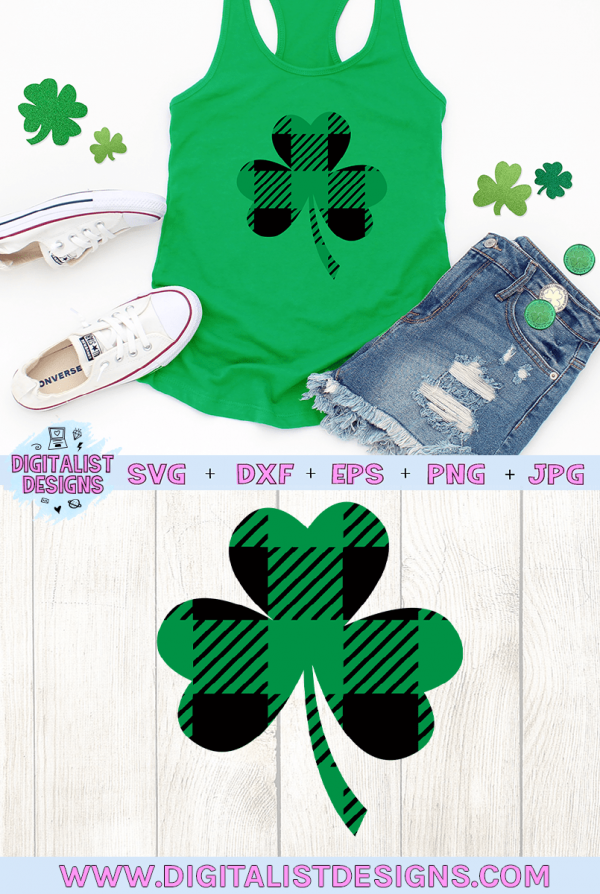 Plaid Shamrock SVG file! This would be amazing for a variety of DIY St. Patrick's Day craft projects such as: HTV T-shirts, mugs, home decor, scrapbooking, stickers, planners, and more! Cricut Design Space and Silhouette Studio compatible. #stpatricksday #stpattysday #stpaddysday