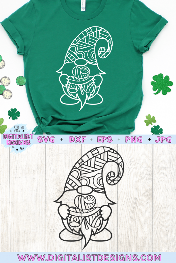 St. Patrick's Day Gnome SVG file! This would be amazing for a variety of DIY St. Patrick's Day craft projects such as: HTV T-shirts, mugs, home decor, scrapbooking, stickers, planners, and more! Cricut Design Space and Silhouette Studio compatible. #stpatricksday #stpattysday #stpaddysday